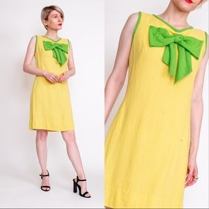 Vintage 60s yellow green mod bow preppy mini dress